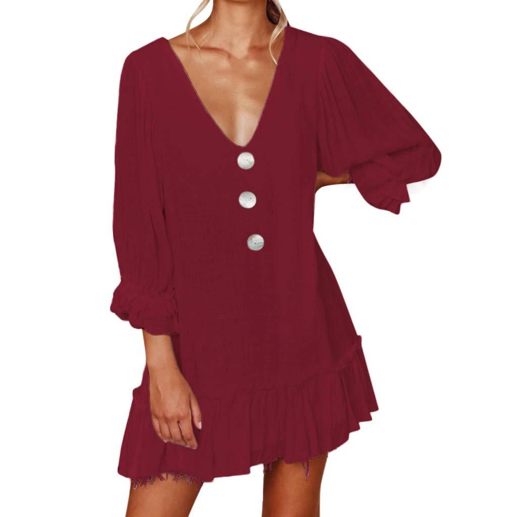 Oksea Knopf einfarbig Kleid Lässige Strandkleid Knopf einfarbig Kleid Sommerkleid Kurzarm Lässige Sommerkleid Kurzarm Lässige Strandkleid A Line Partykleid mit