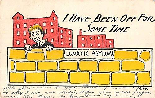 "Greetings Comic Man by Wall""Lunatic Asylum"" Vintage Postcard JC932157"