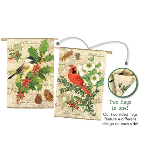 Evergreen Suede Cardinal and Chickadee Holiday Birds Two Sid