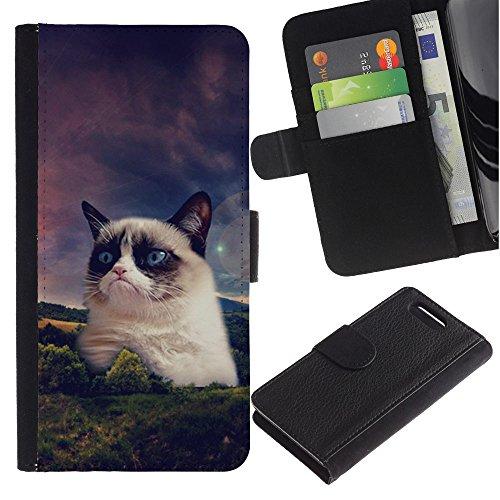 LASTONE PHONE CASE / Lujo Billetera de Cuero Caso del tirón Titular de la tarjeta Flip Carcasa Funda para Sony Xperia Z1 Compact D5503 / Funny Grump Cat Snowshoe Siamese