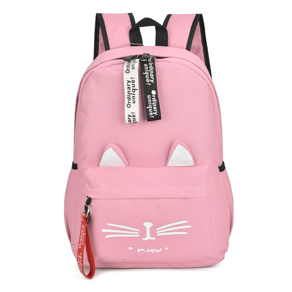 BOying College Cute Cat Embroidery Canvas School Laptop Backpack Bags For Women Kids Plus Size Japanese Cartoon Kitty Ear Schoolbag Ruchsack Girls Boys ...