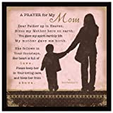 """Mom Prayer Wood Framed Plaque Inspiring Quote 7.5""""x7.5"""" - Square Frame Wall & Tabletop Decoration 