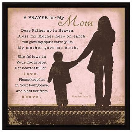 """Amazon com: Mom Prayer Wood Framed Plaque Inspiring Quote 7 5""""x7 5"""