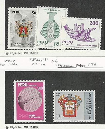 Peru, Postage Stamp, 701, 745, 749B, 821, 781 Mint NH, 1979-84, JFZ