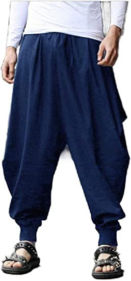 AngelSpace Mens Wide Leg Waistband Stretchy Harem Relaxed-Fit Vintage Sport Pants