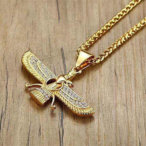Inveroo Ahura Mazda Zoroastrian Farvahar Collar Colgante En Oro Acero Inoxidable Persa Aquem/énia Hombres Joyer/ía