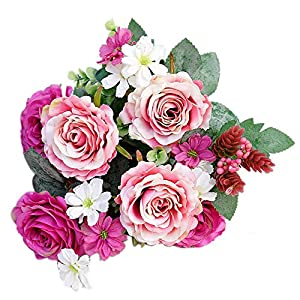 dezirZJjx Artificial Flowers 1Pc Artificial Rose Flower Fake Plant for Garden Party Decor DIY Bridal Bouquet - Rose Red 70