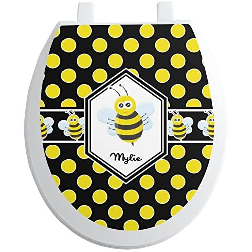 Bee & Polka Dots Toilet Seat Decal - Round (Personalized) 70%OFF