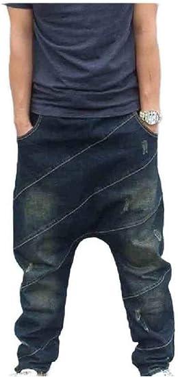 cheelot Men Tapered Harem Pants Denim Loose Fit Juniors' Relaxed-Fit Jean