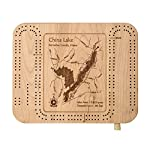 Muskego Lake (Little) in Waukesha, WI - Cribbage Board 9 x 12 IN - Laser etched wood nautical chart and topographic depth map.