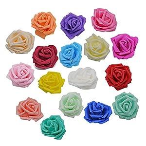 YONGSNOW 50Pcs/lot 8cm PE Foam Rose Head Artificial Flowers for DIY Bouquet Wearth Wedding Party Decoration 2
