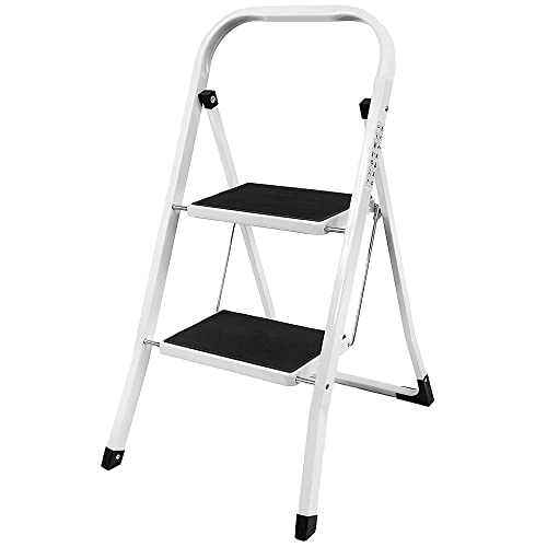 Home Discount 2 Step Ladder, Heavy Duty Steel, Portable Folding, With Anti-Slip Mat