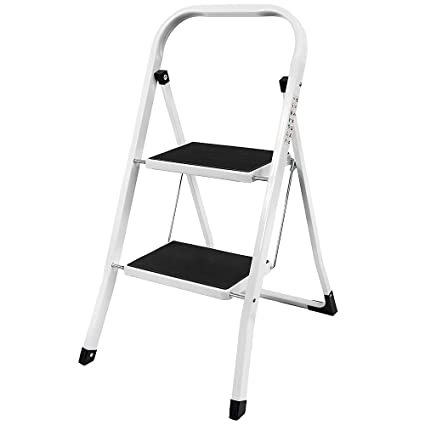 Home Vida 2 Step Ladder, Heavy Duty Steel, Portable Folding, with Anti-Slip  Mat