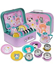 JewelKeeper 15 Piece Kids Pretend Toy Tin Tea Set & Carry Case