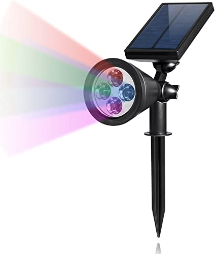 PrimeTrendz TM Color Changing LED Solar Light Spotlight for Outdoor Wall Light, Security Lighting, Path Lights, Landscape Light, Solar Flag Pole Light for Tree, Patio, Deck, Yard, Garden, Pool Area