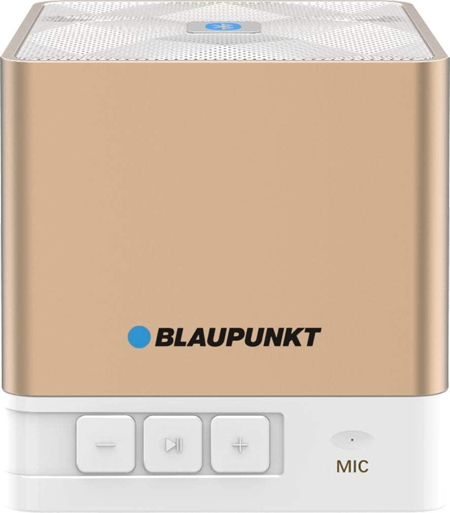 Blaupunkt BT02GOLD Altavoz portátil 3 W Rose Gold, Blanco - Altavoces portátiles (3 W, Inalámbrico y alámbrico, A2DP, Mini-USB, Rose Gold, Blanco, Cubo)