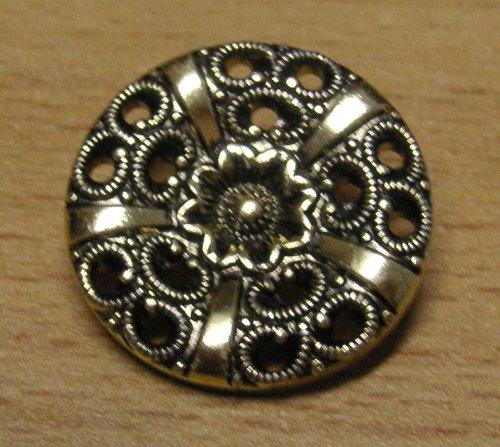 5 Trachten Knöpfe 25 mm alt gold Ornament