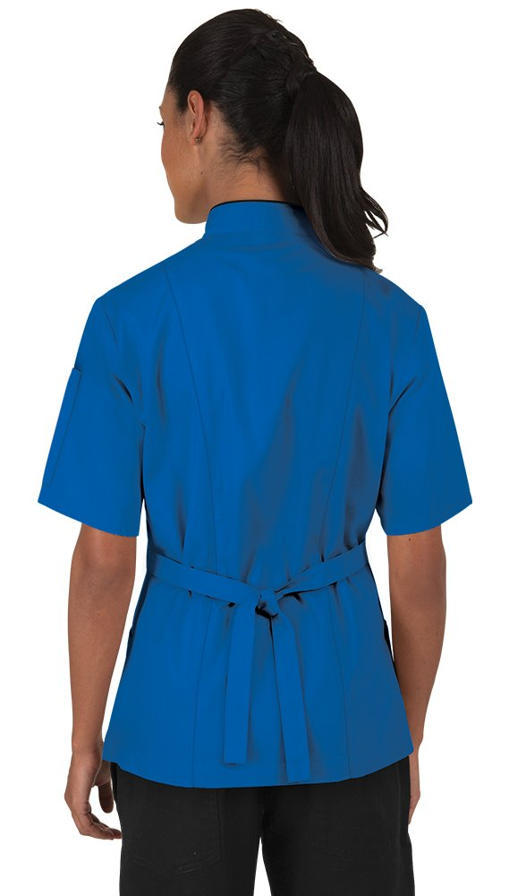 Women's Ocean Blue Chef Coat with Piping (XS-3X) (XXX-Large) by ChefUniforms.com (Image #2)