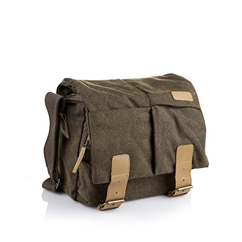 BESTEK Waterproof Canvas DSLR Camera Bag Vintage Leather Messenger Shoulder Bag Slr Gadget Bag with Shockproof Insert (Camera Bag Dslr Waterproof)