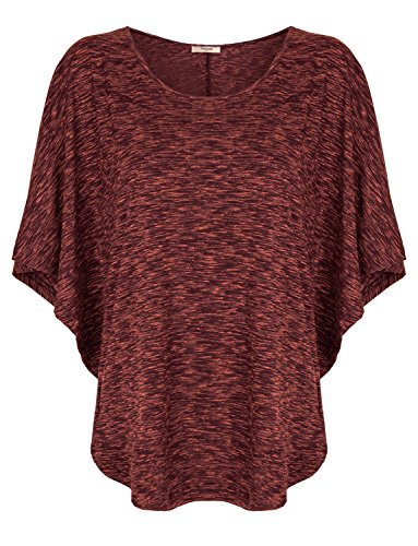 Timeson Scoop Neck Tops Short Sleeve, Crewneck Short Dolman Flare-Sleeve Lightweight Plus Size Tunic Top Large Wine