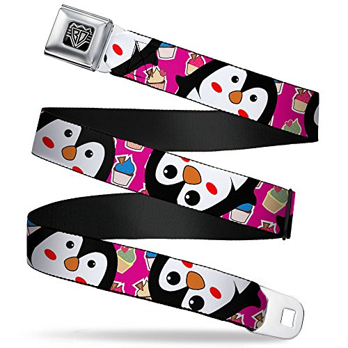 Buckle-Down Seatbelt Belt - Penguins w/Cupcakes Fuchsia/Multi Color - 1.0