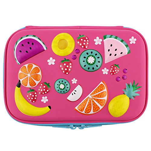 Colorful Fruits School Girls Toddler Hardtop Pencil Case Holder - Cute Kids Pencil Box Pen Bag (Hot Pink)