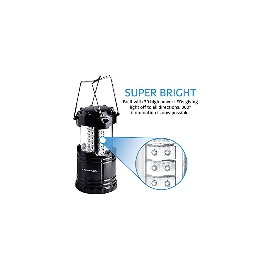 Vont 2 Pack LED Camping Lantern, Portable, Great Addition to: Survival Kits Hurricane, Emergency, Storm, Outages, Outdoor Portable Lantern, Black, Collapsible, Battery Powered