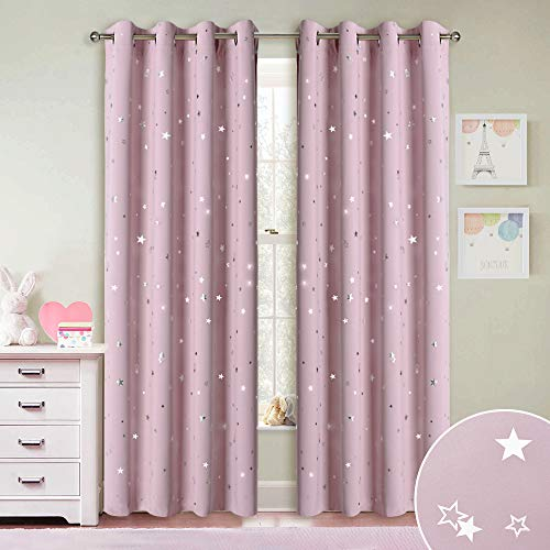 RYB HOME Decor Kids Star Blackout Curtain for Nursery, Room Darkening Light UV Block Drapes Washable Panels for Bedroom Living Room Playroom Playroom, Pink, W 52 inches x L 84 inches, 1 Pair