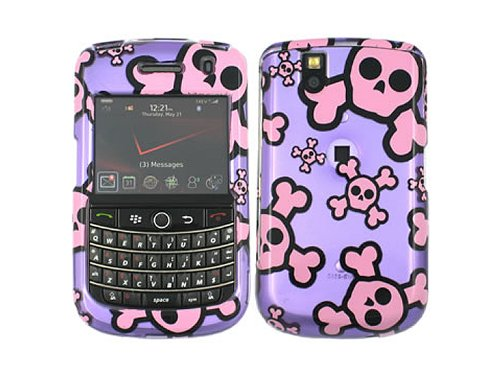 Purple Skull 2D Crystal Faceplate Case Cover for Blackberry Tour 9630 Bold 9650