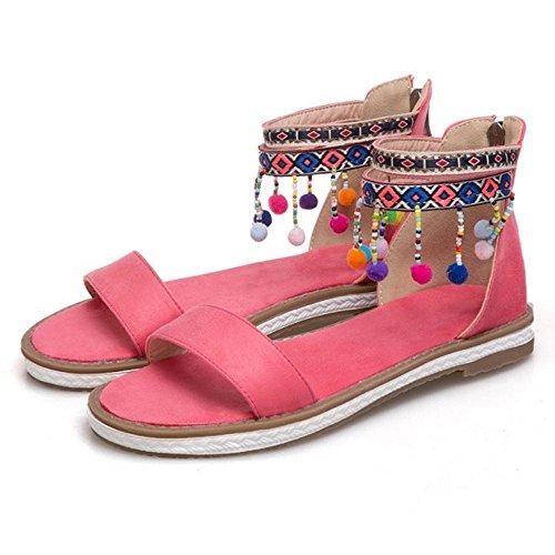 Femmes RAZAMAZA Bout Ouvert Sandales Classique Pink ACxqfCwd