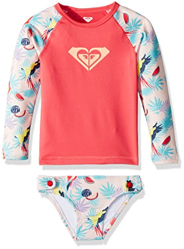 Roxy Toddler Girls' Vintage Tropical Long Sleeve Rashguard Set, Tropical Peach Parrots Island, 4 -
