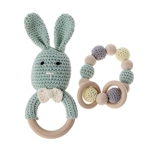 CHBC 2Pcs/Set Baby Wooden Teether Bracelet Crochet Bunny Teething Ring Chewing Toy (Green)