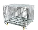 BR Tools FWC-484037CL     Collapsible Galvanized Wire Mesh Container with Lid & Casters, 48x40x37 Inches, 1 Pack