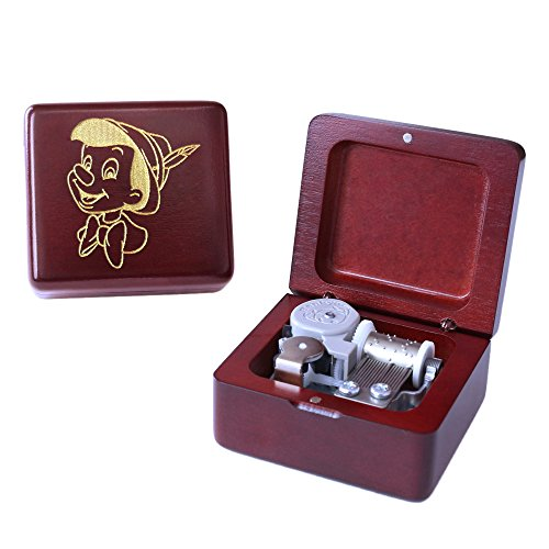 Sinzyo Wood Music Box Mini Music Box with Sankyo Movement Play When You Wish Upon a Star Music Box for Christmas Birthday Box Wine red