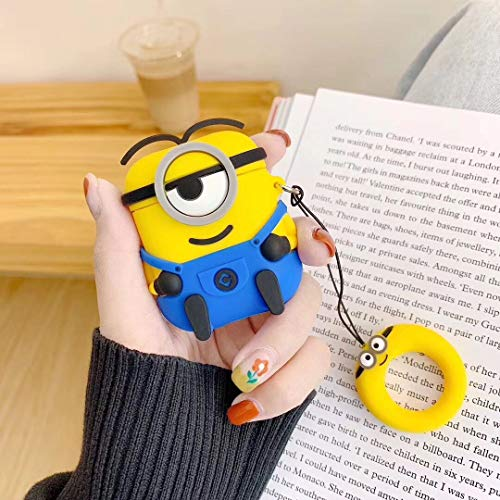 (Ibision Airpods Case 3D Cartoon Cute Minions Soft Silicone Wireless Earphone Charging Cover for Apple AirPods 1/2 with Finger Ring Strap (Style)