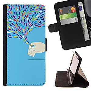 Jordan Colourful Shop - crying blue monster sad tears art modern For Sony Xperia m55w Z3 Compact Mini - Leather Case Absorci???¡¯???€????€?????