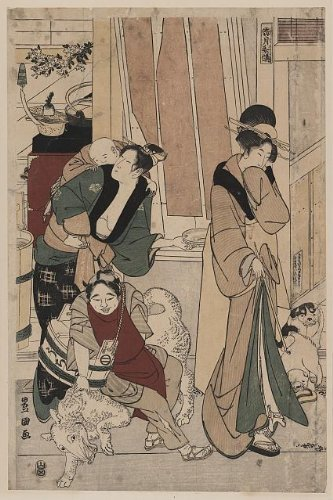 1801 Japanese Print domestic scene with a woman carrying a young child on her back, whom she may have been breast feeding, another woman holding a long pipe in her right hand and her left hand covering her mouth, also a third person, with a wooden bucket slung from the shoulder, is attempting to sit on a large dog. Satsuki(?). TITLE TRANSLATION: The fifth month. - Ing Costumes Online