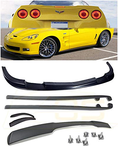 For 2005-2013 Chevrolet Corvette C6 Wide Body Models | EOS ZR1 Style ABS Plastic PRIMER BLACK Front Bumper Lip Splitter With Side Skirts Panels Mud Flaps Pair & Painted Matte (Parts Side Wing)