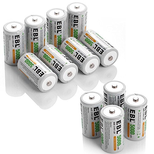 EBL 5000mAh Ni-MH Rechargeable C Batteries, 12 Pack
