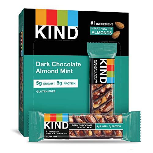 KIND Bars, Dark Chocolate Mint, Gluten Free, Low Sugar, 1.4oz, 12 Count (Bar Dark Chocolate Mocha Almond)