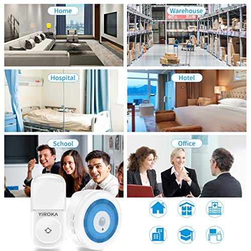 Wireless Doorbell, YIROKA Self-Generating Power Door Chime Operating at 500 Feet with Waterproof, 58 Chimes, 4 Volume & LED Indicator, No Batteries Required