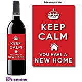 Keep Calm New Home, House Warming Wine bottle label Celebration Gift for Women and Men. by Purpleproducts