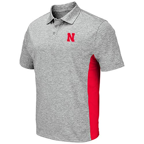 Colosseum Men's NCAA-Drive- Golf/Polo Shirt-Heather Grey-Nebraska Cornhuskers-XL ()