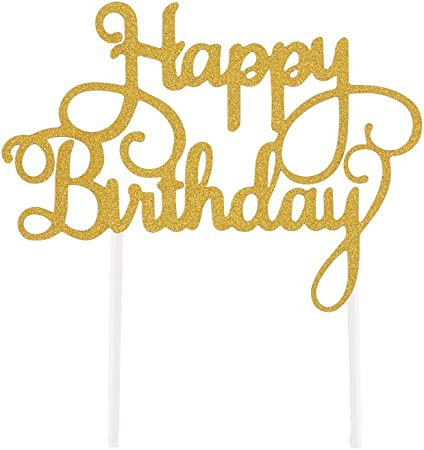 Sunbeauty Happy Birthday Cake Topper Gold Glitter Birthday Cupcake Topper For Birthday Party Cake Decorations Gold Amazon Co Uk Kitchen Home