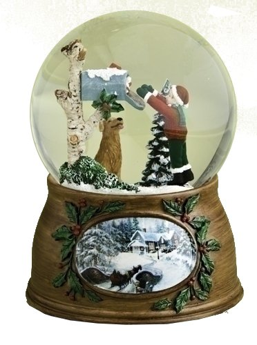 Roman Child and Dog Checking Mailbox Musical Glass Christmas Glitterdome Snow Globe - 15 Christmas Music Box