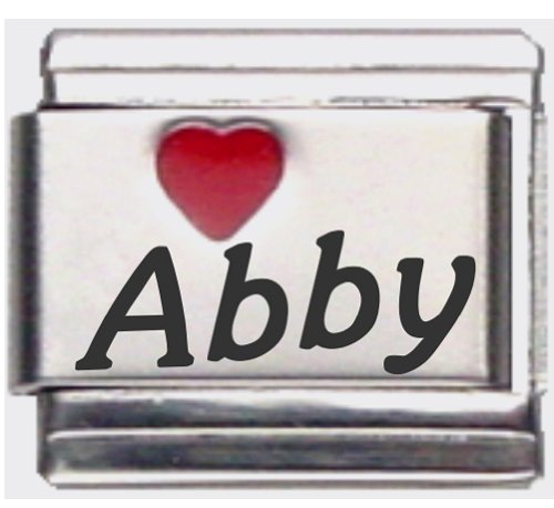 Abby Red Heart Laser Name Italian Charm Link