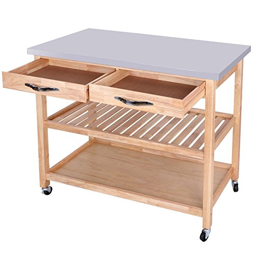 Pastel Kitchen Island Cart Wooden Storage Rolling Cabinet Trolley Utility Table Dining Rack Shelf Drawer Cookware Top Stainless 45.3