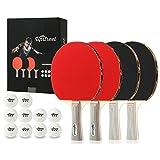 Upstreet Ping Pong Paddle Set Includes 4 Ping Pong Paddles 3 Star Ping Pong Balls Table Tennis