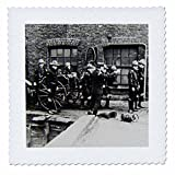 3dRose Scenes from the Past Magic Lantern Slides - Vintage Fire Brigade Edwardian Merryweather Steam Fire Engine 1908-16x16 inch quilt square (qs_269854_6)