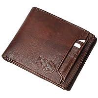 RUGE Genuine Leather RFID Blocking Wallet for Men's - Antique Brown